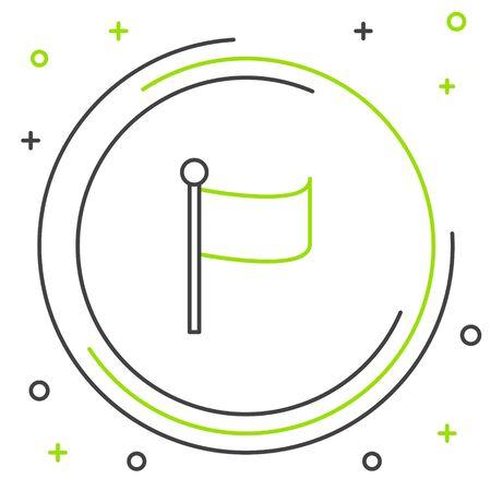 Black and green line Flag icon isolated on white background. Location marker symbol. Colorful outline concept. Vector Illustration Ilustração