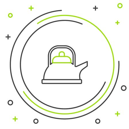 Black and green line Kettle with handle icon isolated on white background. Teapot icon. Colorful outline concept. Vector Illustration