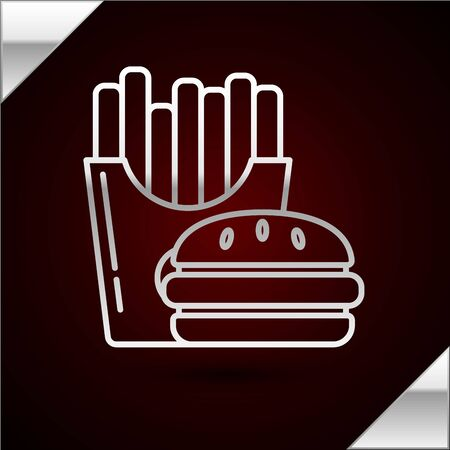Silver line Burger and french fries in carton package box icon isolated on dark red background. Hamburger, cheeseburger sandwich. Fast food menu. Vector Illustration