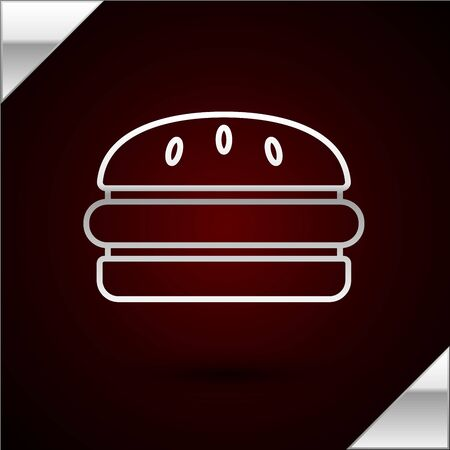 Silver line Burger icon isolated on dark red background. Hamburger icon. Cheeseburger sandwich sign. Fast food menu. Vector Illustration