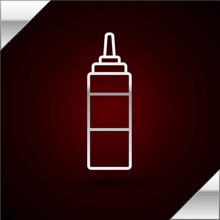 Silver line Sauce bottle icon isolated on dark red background. Ketchup, mustard and mayonnaise bottles with sauce for fast food. Vector Illustration Çizim