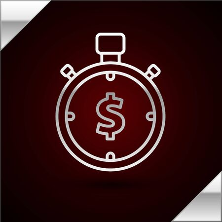 Silver line Time is money icon isolated on dark red background. Money is time. Effective time management. Convert time to money. Stopwatch sign. Vector Illustration Ilustrace