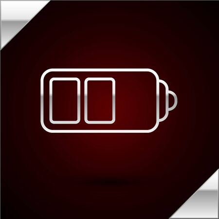 Silver line Battery charge level indicator icon isolated on dark red background. Vector Illustration