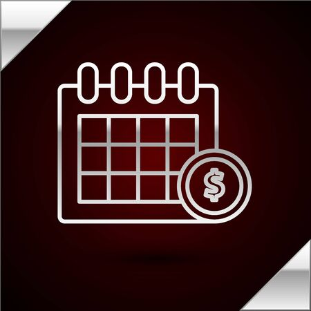 Silver line Financial calendar icon isolated on dark red background. Annual payment day, monthly budget planning, fixed period concept, loan duration. Vector Illustration