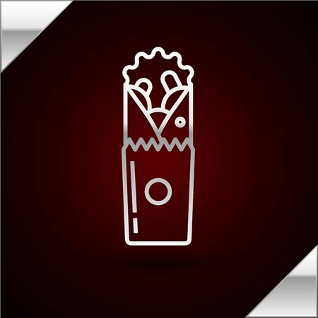 Silver line Doner kebab icon isolated on dark red background. Shawarma sign. Street fast food menu. Vector Illustration Illusztráció