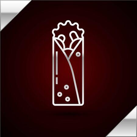 Silver line Doner kebab icon isolated on dark red background. Shawarma sign. Street fast food menu. Vector Illustration Stock Illustratie