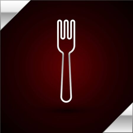 Silver line Fork icon isolated on dark red background. Cutlery symbol. Vector Illustration