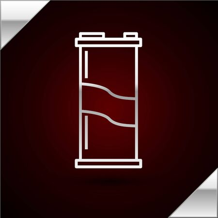 Silver line Soda can icon isolated on dark red background. Vector Illustration
