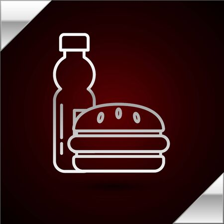 Silver line Bottle of water and burger icon isolated on dark red background. Soda aqua drink sign. Hamburger, cheeseburger sandwich. Fast food menu. Vector Illustration