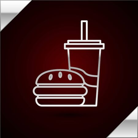 Silver line Paper glass with drinking straw and burger icon isolated on dark red background. Soda aqua drink sign. Hamburger, cheeseburger sandwich. Vector Illustration Çizim