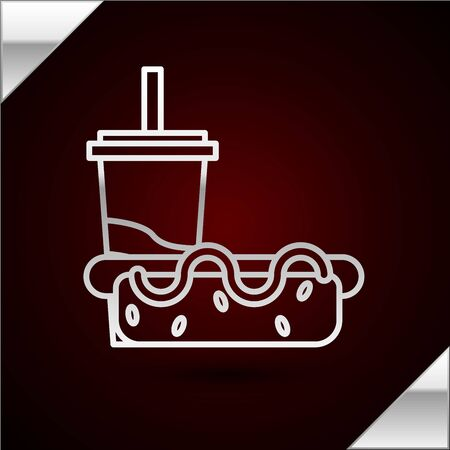 Silver line Paper glass with drinking straw and hotdog icon isolated on dark red background. Soda aqua drink sign. Hamburger, cheeseburger sandwich. Vector Illustration Çizim
