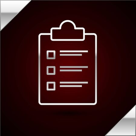Silver line Clipboard with checklist icon isolated on dark red background. Control list symbol. Survey poll or questionnaire feedback form. Vector Illustration