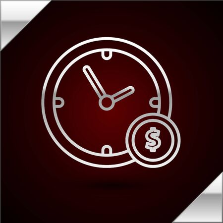 Silver line Time is money icon isolated on dark red background. Money is time. Effective time management. Convert time to money. Vector Illustration Ilustrace