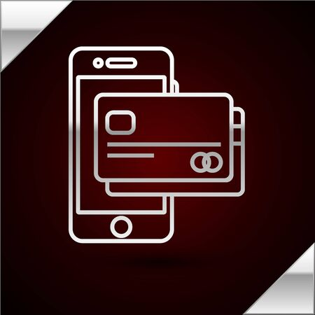 Silver line Mobile phone and credit card icon isolated on dark red background. Smartphone online payment concept. NFC payment. Transfer icon. Vector Illustration