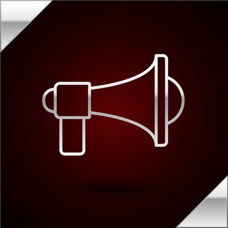 Silver line Megaphone icon isolated on dark red background. Loud speach alert concept. Bullhorn for Mouthpiece scream promotion. Vector Illustration Ilustração