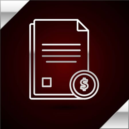 Silver line Finance document icon isolated on dark red background. Paper bank document with dollar coin for invoice or bill concept. Vector Illustration