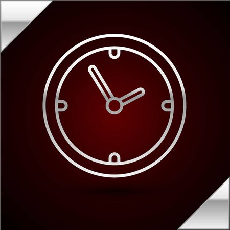 Silver line Clock icon isolated on dark red background. Time symbol. Vector Illustration Çizim