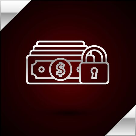Silver line Money with lock icon isolated on dark red background. Locked money. Security, safety, protection concept. Concept of a safe payment. Vector Illustration Иллюстрация