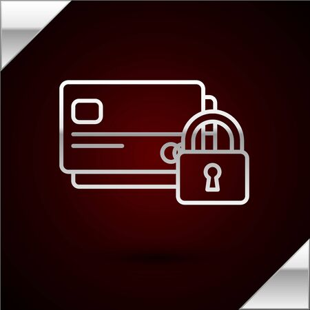 Silver line Credit card with lock icon isolated on dark red background. Locked bank card. Security, safety, protection concept. Concept of a safe payment. Vector Illustration