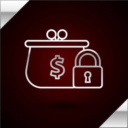 Silver line Closed wallet with lock icon isolated on dark red background. Locked wallet. Security, safety, protection concept. Concept of a safe payment. Vector Illustration Иллюстрация