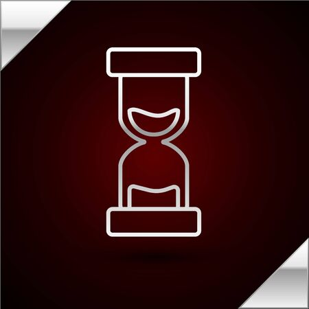 Silver line Old hourglass with flowing sand icon isolated on dark red background. Sand clock sign. Business and time management concept. Vector Illustration Illusztráció