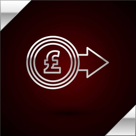 Silver line Coin money with pound sterling symbol icon isolated on dark red background. Banking currency sign. Cash symbol. Vector Illustration