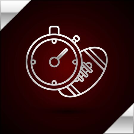 Silver line American Football ball and stopwatch icon isolated on dark red background. Set of sport equipment. Vector Illustration Illusztráció