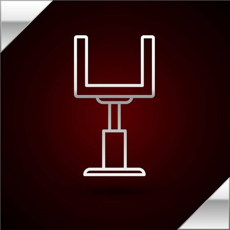 Silver line American football goal post icon isolated on dark red background. Vector Illustration Stok Fotoğraf - 133417079