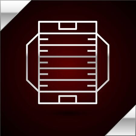 Silver line American football field icon isolated on dark red background. Vector Illustration