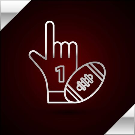 Silver line Number 1 one fan hand glove with finger raised and american football ball icon isolated on dark red background. Set of sport equipment. Vector Illustration 向量圖像