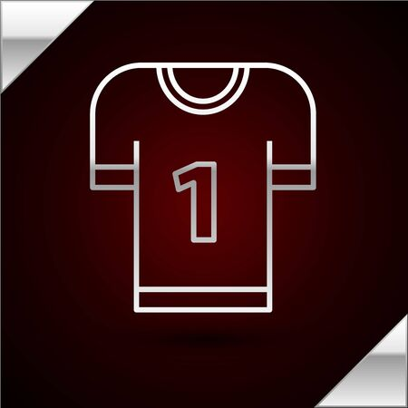 Silver line American football jersey icon isolated on dark red background. Football uniform sign. Vector Illustration Illusztráció
