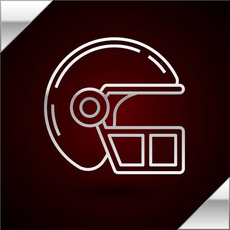Silver line American football helmet icon isolated on dark red background. Vector Illustration