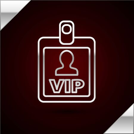 Silver line VIP badge icon isolated on dark red background. Vector Illustration Illustration