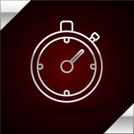 Silver line Stopwatch icon isolated on dark red background. Time timer sign. Chronometer sign. Vector Illustration
