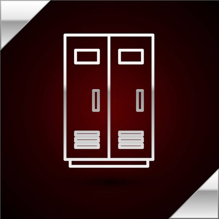 Silver line Locker or changing room for football, basketball team or workers icon isolated on dark red background. Vector Illustration