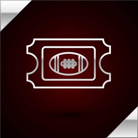 Silver line American Football ticket icon isolated on dark red background. Vector Illustration Illusztráció