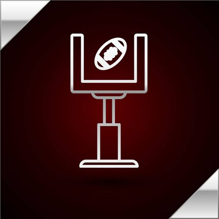Silver line American football goal post and football ball icon isolated on dark red background. Vector Illustration Stok Fotoğraf - 133417092