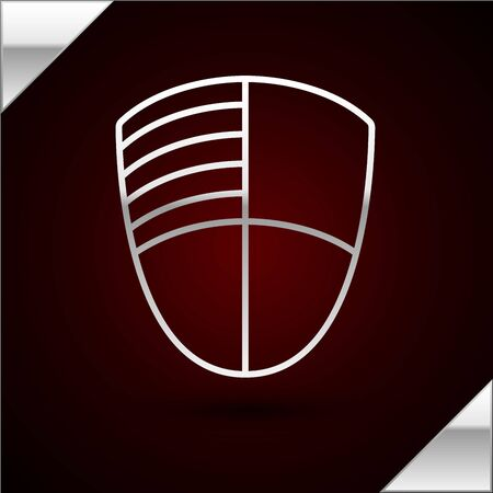Silver line Football club template icon isolated on dark red background Illusztráció