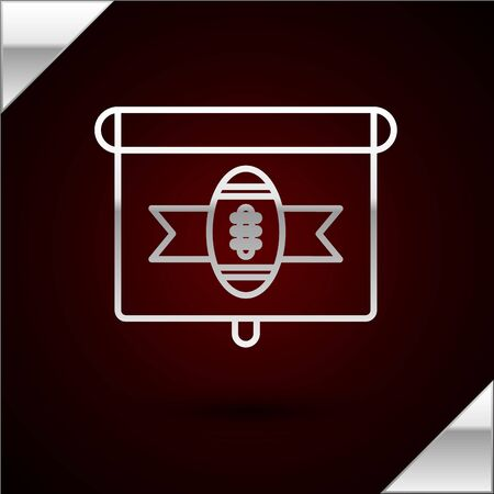 Silver line American football on tv program icon isolated on dark red background. Vector Illustration