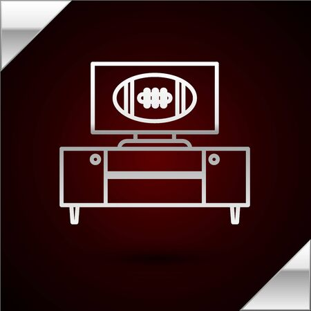 Silver line American football on tv program and stand icon isolated on dark red background. Vector Illustration