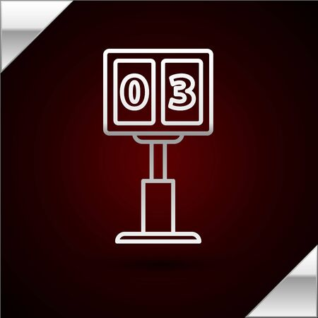 Silver line Sport football mechanical scoreboard and result display icon isolated on dark red background. Vector Illustration Illusztráció