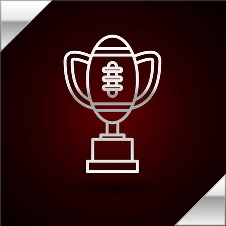 Silver line Award cup and American football ball icon isolated on dark red background. Winner trophy symbol. Championship or competition trophy. Vector Illustration Illusztráció