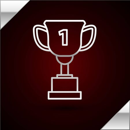 Silver line Award cup icon isolated on dark red background. Winner trophy symbol. Championship or competition trophy. Sports achievement sign. Vector Illustration Illusztráció