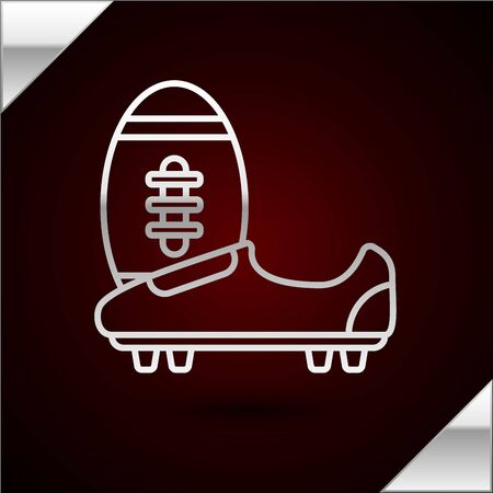 Silver line Soccer or football shoes with spikes icon isolated on dark red background. American football boot and ball. Vector Illustration