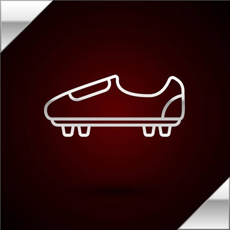 Silver line Soccer or football shoes with spikes icon isolated on dark red background. American football boot. Vector Illustration Stok Fotoğraf - 133417150