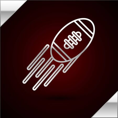 Silver line American Football ball icon isolated on dark red background. Rugby ball icon. Team sport game symbol. Vector Illustration Illusztráció