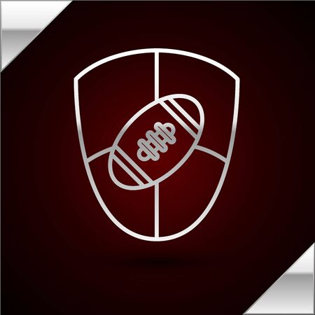 Silver line American Football ball and shield icon isolated on dark red background. Rugby ball icon. Team sport game symbol. Vector Illustration