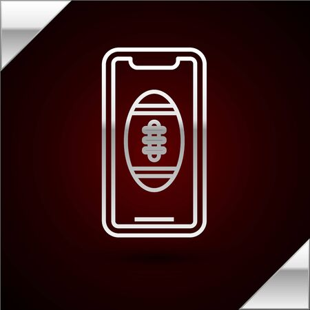 Silver line Smartphone with american football ball on the screen icon isolated on dark red background. Online football game for mobile phone. Vector Illustration Stok Fotoğraf - 133417187