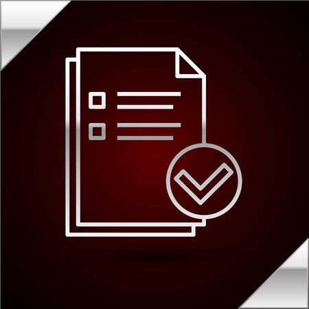 Silver line Document and check mark icon isolated on dark red background. Checklist icon. Business concept. Vector Illustration Illusztráció