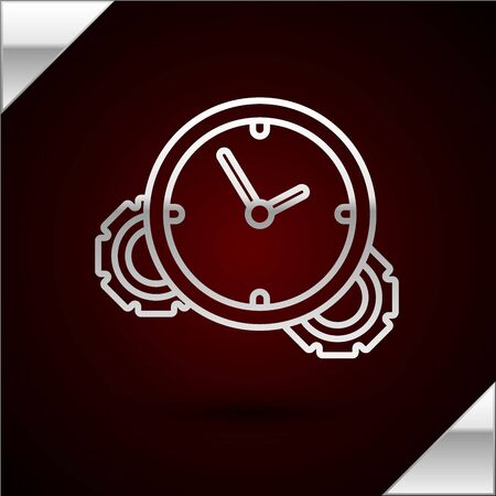 Silver line Time Management icon isolated on dark red background. Clock and gear sign. Productivity symbol. Vector Illustration